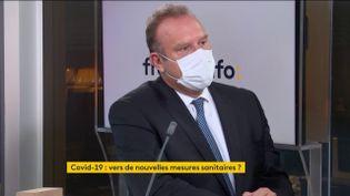 Lamine Gharbi, président de la Fédération de l'hospitalisation privée, invité éco de franceinfo mercredi 13 janvier 2021. (FRANCEINFO)