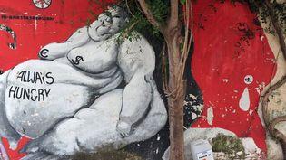 """""""Toujours affamé"""" : Street Art à Athènes contre la crise  (LOUISA GOULIAMAKI/AFP)"""