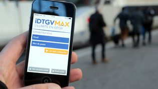 L'application mobile liée au forfait de train illimité IDTGV Max, dont la SNCF a annoncé la fin de la commercialisation, le 25 février 2017. (MAXPPP)