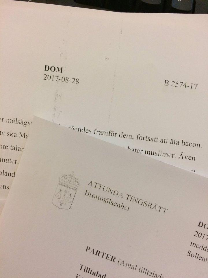 Extrait du jugement rendu le lundi 28 septembre par la cour du district d'Attuna (Capture d'écran jugement de l'homme au bacon)