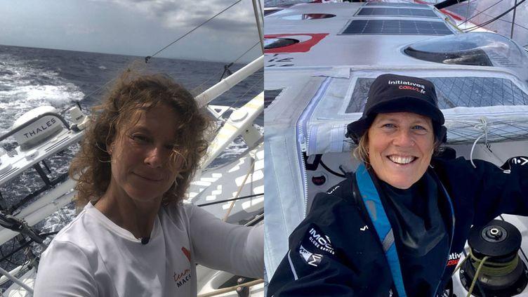 Isabelle Joschke et Sam Davies sur leur bateau, lors du Vendée Globe 2020. (ISABELLE JOSCHKE / MACSF / SAM DAVIES / INITIATIVES COEUR)