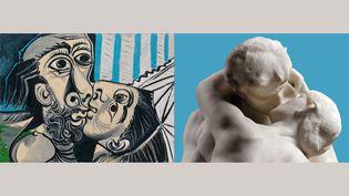 """A gauche, Pablo Picasso, """"Le Baiser"""", Mougins, 26 octobre 1969, Musée national Picasso-Paris, dation Pablo Picasso, MP220. A droite,Auguste Rodin, """"Le Baiser"""", vers 1885, Paris, musée Rodin (A gauche, Photo© RMNGrand Palais / Adrien Didierjean, © Succession Picasso 2021 - A droite, © musée Rodin - photo Hervé Lewandowski)"""