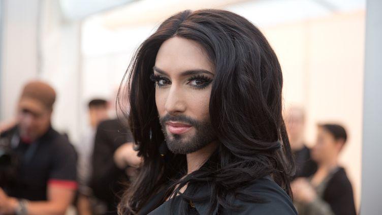 Conchita Wurst doit représenter l'Autriche lors de la finale de l'Eurovision, à Copenhague (Danemark), le 3 mai 2014. (JORG CARSTENSEN / DPA / AFP)