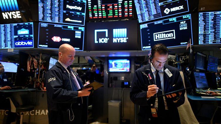 Illustration Wall Street à New York aux États-Unis. (JOHANNES EISELE / AFP)