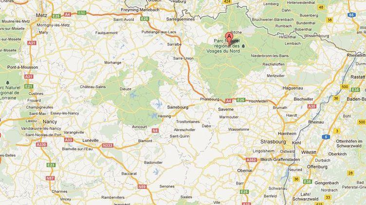 Capture d'écran Google Maps indiquant Lemberg, en Moselle. (FTVI)