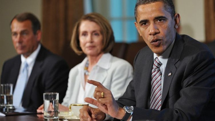Barack Obama lors d'une rencontre avec le leader républicain à la Chambre des représentants, John Boehner (AFP - Mandel NGAN)