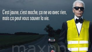 Karl Lagerfeld en gilet jaune  (SECURITE ROUTIERE/MAXPPP/MAXPPP)
