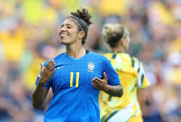 L'attaquante brésilienne Cristiane lors du match Brésil-Australie au stade de la Mosson de Montpellier (Hérault), le 13 juin 2019. (ELSA / GETTY IMAGES EUROPE)