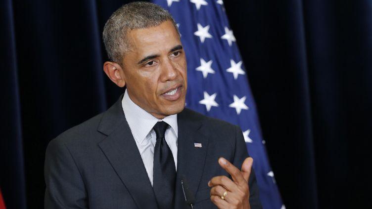 Le président des Etats-Unis, Barack Obama, lors d'une conférence de presse, à la fin du sommet du G7, à Bruxelles (Belgique), le 5 juin 2014. (DURSUN AYDEMIR / ANADOLU AGENCY / AFP)