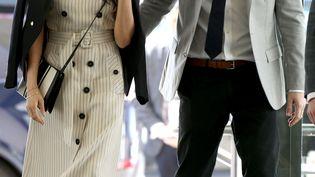 Le prince Harry aux côtés de sa fiancée, l'actrice américaine Meghan Markle, le 18 avril 2018. (YUI MOK / POOL)