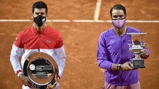 Rafael Nadal a dominé Novak Djokovic en finale du Masters 1000 de Rome dimanche 16 mai 2021 (FILIPPO MONTEFORTE / AFP)