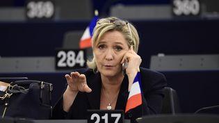 Marine Le Pen, le 17 janvier 2016 dans l'hémicycle du Parlement européen, à Strasbourg. (FREDERICK FLORIN / AFP)