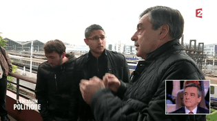 """François Fillon face à des cheminots dans """"L'Emission politique"""" du 27 octobre 2016. (L'Emission politique/France 2)"""