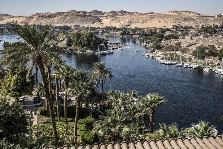 Vue sur le Nil depuis l'hôtel Old Cataract à Assouan, où a séjourné Agatha Christie (3 janvier 2021) (KHALED DESOUKI / AFP)