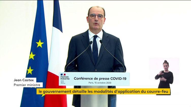 Le Premier ministre, Jean Castex, en conférence de presse, le 15 octobre 2020. (FRANCEINFO)
