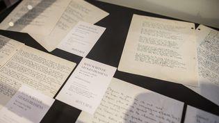 Vingt-deux documents de la main de Georges Brassens étaient vendus chez Arcurial à Paris le 22 septembre 2020 (SADAK SOUICI / LE PICTORIUM / MAXPPP)