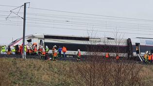 Un TGV qui reliait Strasbourg à Paris a déraillé jeudi5 mars vers 7h30 un peu avant Saverne (Bas-Rhin). (FRANÇOISE BURCKEL / RADIO FRANCE)