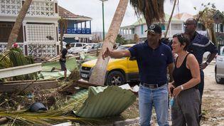 La ministre des Outre-mer à Saint-Martin, le 7 septembre 2017, après le passage de l'ouragan Irma. (LIONEL CHAMOISEAU / AFP)