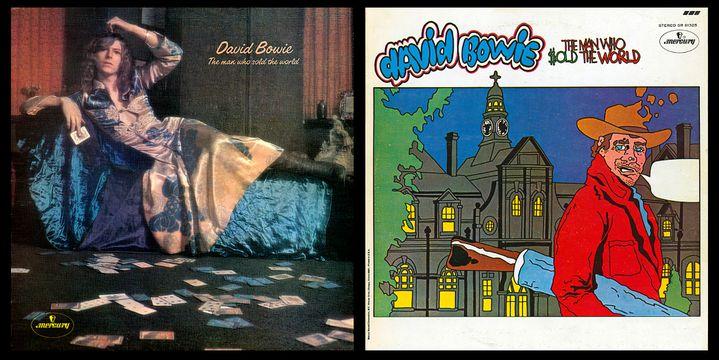 """A gauche, la pochette anglaise originale de """"The Man Who Sold The World"""" (1970) de David Bowie, en robe. A droite, la version américaine, qui a peu à voir avec l'esprit du disque. (MERCURY)"""
