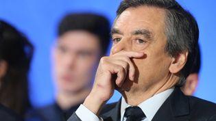 François Fillon, candidat à la présidentielle, participe à un meeting à Charleville-Mézières (Ardennes), le 2 février 2017. (FRANCOIS NASCIMBENI / AFP)