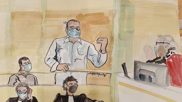 Ali Riza Polat, le 26 octobre 2020, lors de son interrogatoire au procès des attentats de janvier 2015. (ELISABETH DE POURQUERY / FRANCEINFO)