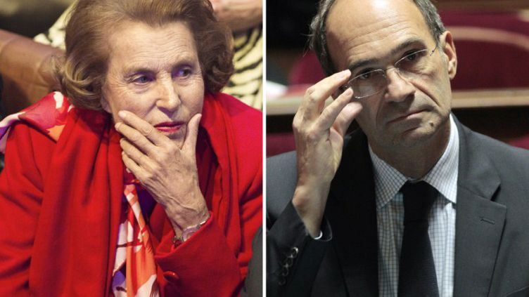 Liliane Bettencourt et l'ancien ministre UMP Eric Woerth. (FRED DUFOUR / JACQUES DEMARTHON / AFP)