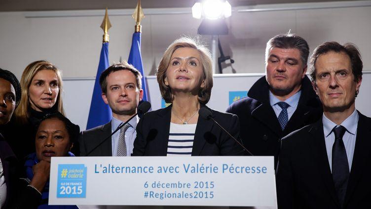 Valérie Pécresse, tête de liste des Républicains en Ile-de-France, le soir du premier tour des élections régionales à Paris, le 6 décembre 2015. (MAXPPP)