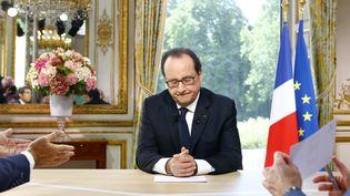 François Hollande lors de son interviewdu 14-juillet2016, à l'Elysée. (FRANCOIS MORI / AFP)