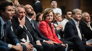 François Bayrou, Stanislas Guérini et Nathalie Loiseau lors du dernier meeting de la liste de LREM pour les européennes, à la Maison de la Mutualité à Paris, le 24 mai 2019. (KARINE PIERRE / HANS LUCAS)