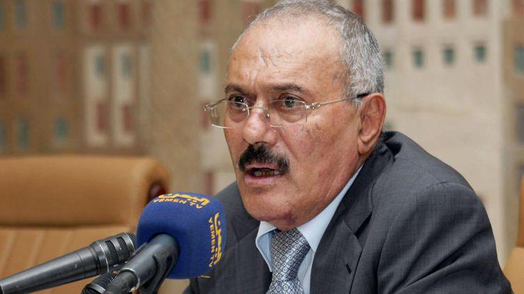 Ali Abdallah Saleh lors d'une conférence de presse le 7 décembre 2011 à Sanaa, au Yémen. (AFP)