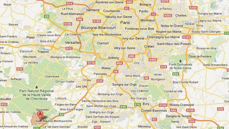 Une joggeuse a été retrouvée ensanglantée et choquée en bordure d'une route de Rochefort-en-Yvelines (Yvelines) dimanche 11 mars 2012. (GOOGLE MAPS / FTVI )