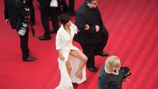 """Sophie Marceau et le réalisateur Guillermo del Toro montent les marches avant la projection de """"Mad Max"""", le 14 mai 2015. (BERTRAND LANGLOIS / AFP)"""