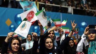 Des Iraniennes assistent à un meeting des candidats réformistes aux élections, le 20 février 2016 à Téhéran. (FATEMEH BAHRAMI / ANADOLU AGENCY / AFP)