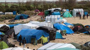 """Des migrants dans la """"jungle"""" de Calais (Pas-de-Calais), le 12 novembre 2015. (DENIS CHARLET / AFP)"""
