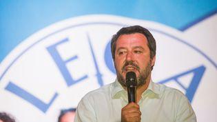 Matteo Salvini, le ministre italien de l'Intérieur, participe à un meeting à Turin (Italie), le 27 avril 2019. (MAURO UJETTO / NURPHOTO / AFP)
