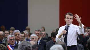 Le président de la République Emmanuel Macron, le 18 janvier 2019 à Souillac (Lot). (LUDOVIC MARIN / AFP)