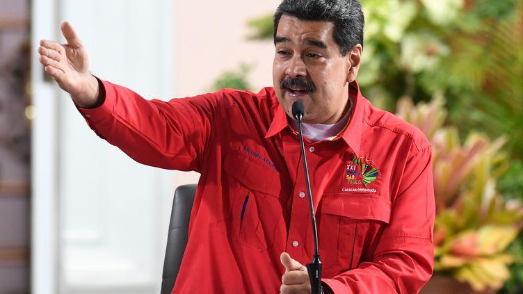 Le président vénézuelien Nicolas Maduro lors d'un discours à Caracas (Venezuela), le 28 juillet 2019. (FEDERICO PARRA / AFP)