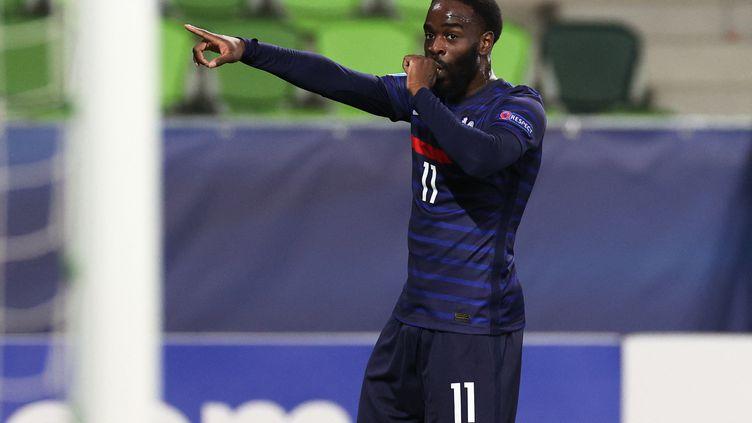 Jonathan Ikoné après son but contre la Russie pour la deuxième journée de l'Euro espoirs. (VLADIMIR PESNYA / SPUTNIK)
