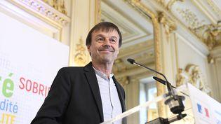 Nicolas Hulot lors d'une conférence de presse au ministère de la Transition écologique et solidaire, le 30 mars 2018. (CHRISTOPHE SAIDI / SIPA)