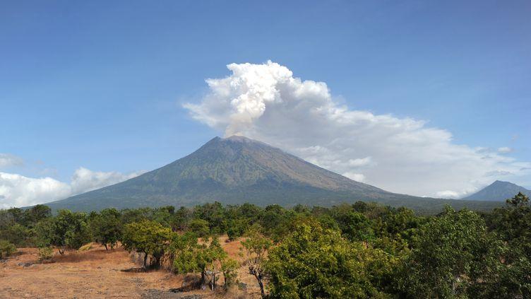 Le mont Agung sur l'île de Bali (Indonésie) en éruption le 29 juin 2018. (SONNY TUMBELAKA / AFP)
