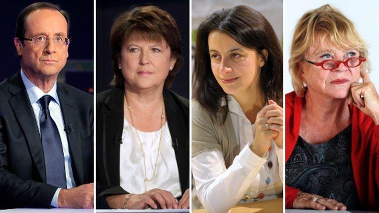 Le candidat socialiste à la présidentielle François Hollande, la première secrétaire du PS Martine Aubry, la secrétaire nationale d'Europe Ecologie-Les Verts Cécile Duflot et la candidate écologiste Eva Joly. (AFP PHOTO / MONTAGE FTVI)