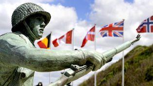 Lacérémonie internationale pour le 76e anniversaire du Débarquement et de la bataille de Normandiele6 juin 2020, à Vierville-sur-Mer dans le Calvados. (MARC OLLIVIER / MAXPPP)