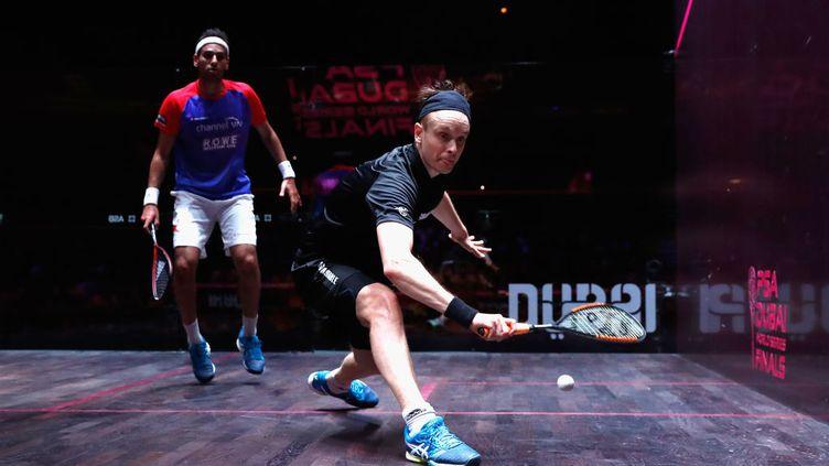 10 juin 2017. Dubai. Finale hommes en squash du PSA Dubai World Series entre l'anglais James Willstrop et l'égyptien Mohamed El Shorbagy. Le squash pourrait être désigné comme discipline olympique. (FRANCOIS NEL / GETTY IMAGES EUROPE)