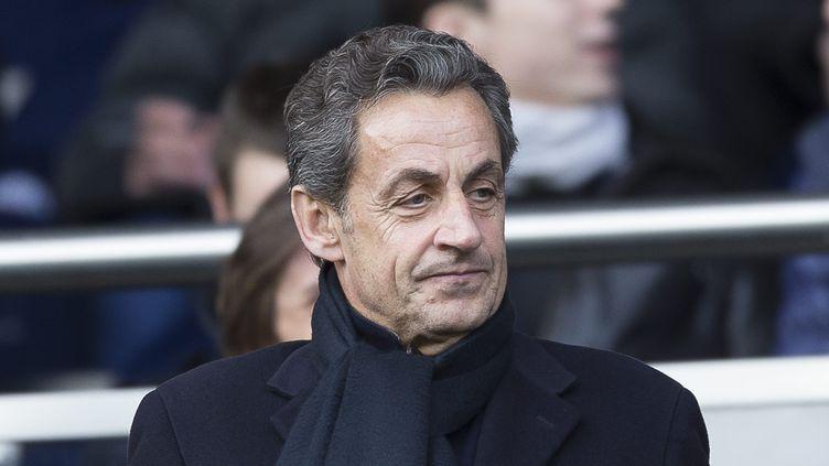Nicolas Sarkozy assiste à un match du PSG, le 14 février 2015 à Paris. (  MAXPPP)