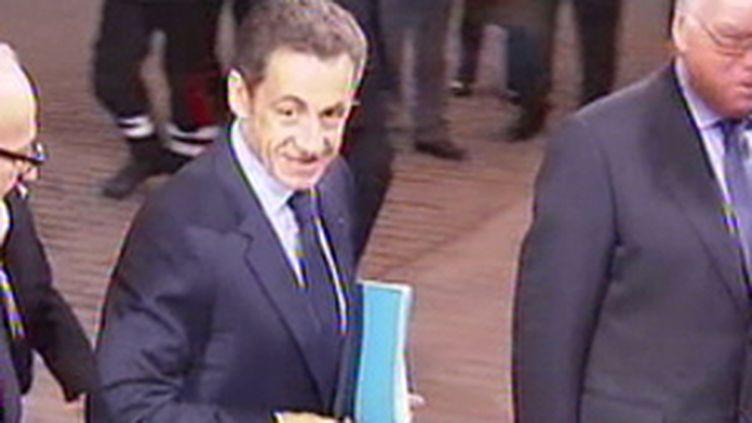 Nicolas Sarkozy au sommet de l'UE, à Bruxelles, le 29 octobre 2009 (© France 2)
