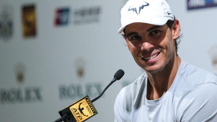 Rafael Nadal lors d'une conférence de presse à Shanghai (Chine), le 11 octobre 2017. (XIA LEI / IMAGINECHINA / AFP)
