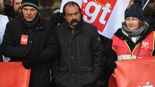 Le secrétaire général de la CGT, Philippe Martinez, lors d'une manifestation contre l'augmentation du coût de la vie, le 14 décembre 2018 à Paris. (CHRISTOPHE ARCHAMBAULT / AFP)