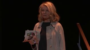 La comédienne et réalisatriceNicole Garciajoue son spectacle sur la scène du Théâtre de la Ville. La représentation sera filmée et diffusée sur Internet. (CAPTURE ECRAN FRANCE 2)