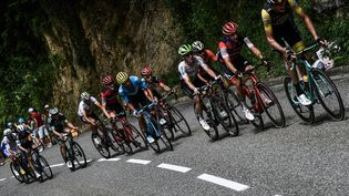 Le Néerlandais Robert Gesink (en tête) et l'Italien Damiano Caruso (2e) sur la photo, roulent dans la 16e étape du 105e Tour de France, entre Carcassonne (Aude), et Bagnères-de-Luchon (Haute-Garonne), le 24 juillet 2018. (JEFF PACHOUD / AFP)