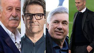De gauche à droite : Vicente del Bosque, Fabio Capello, Carlo Ancelotti et Zinédine Zidane. (AFP)